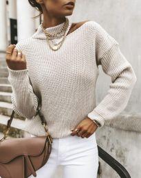 Дамски ефектен пуловер в бежово - код 1804