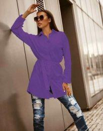 Дълга дамска риза в лилаво - код 6739