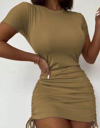Дамска рокля в бежово с връзки - код 5569