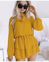 Дамска рокля в цвят горчица - код 4093