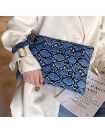 Дамска чанта с атрактивен десен в тъмно синьо - код B27