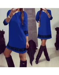 Синя дамска рокля с дантела - код 345