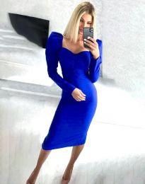 Стилна дамска рокля в синьо - код 3865