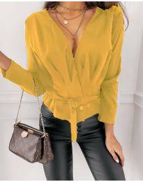 Атрактивна дамска блуза в жълто - код 5525