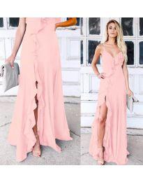 Дълга рокля с цепка в розово - код 4488