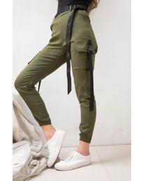 Дамски панталон в маслено зелено - код 6967