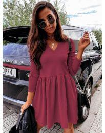 Дамска рокля в  бордо - код 0060