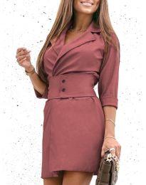 Дамска рокля в цвят пудра - код 1356
