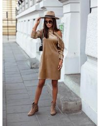 Дамска рокля в капучино - код 8171