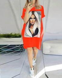 Свободна рокля в червено - код 2766