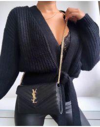 Къса дамска жилетка в черно - код 2278
