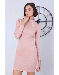 Дамска рокля в цвят пудра - код 7099
