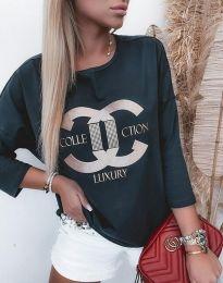 Атрактивна дамска блуза в черно - код 0677