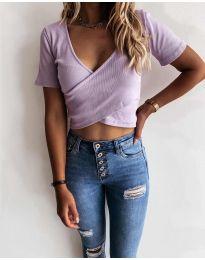 Дамска тениска в светло лилаво - код 1102