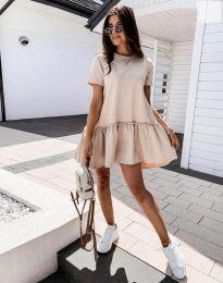 Атрактивна дамска рокля в бежово - код 11890