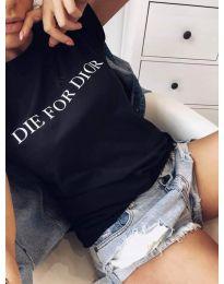 Черна дамска тениска с надпис - код 406