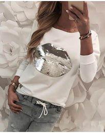 Ефектна дамска блуза в бяло - код 3963