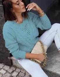 Плетен дамски пуловер в цвят мента - код 1620