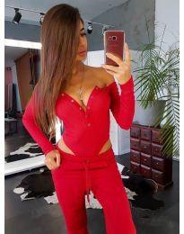 Дамско боди в червено с отворено деколте - код 3668