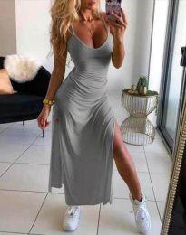 Дълга лятна рокля в сиво - код 4754