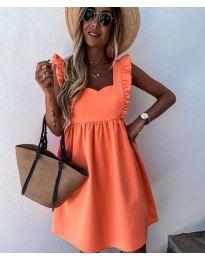 Стилна рокля в оранжево - код 818