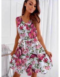 Феерична рокля в бял цвят с флорален мотив - код 315