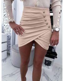 Къса пола с набори и декоративни копчета в бежово - код 021