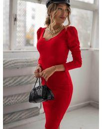 Дълга рокля по тялото в червено - код 11548