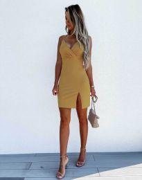Елегантна дамска рокля в цвят горчица - код 8979