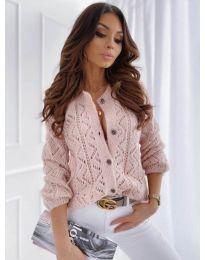Къса дамска жилетка с копчета в светло розово - код 6533