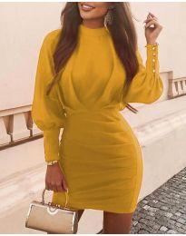Дамска рокля в цвят горчица - код 4016