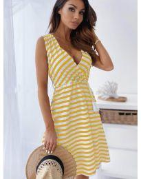 Рокля с жълто  райе - код 6629