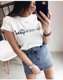 Дамска бяла тениска с надпис - код 978