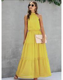 Свободна дълга рокля в жълто - код 8855