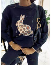 Дамска черна блуза с принт - код  3992