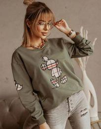 Дамска блуза в масленозелено с принт - код 2959