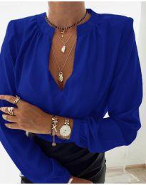 Дамска риза с V-образно деколте в синьо - код 405