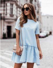 Атрактивна дамска рокля в светлосиньо - код 11890