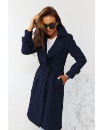 Дамско палто с колан в тъмно синьо - код 1500