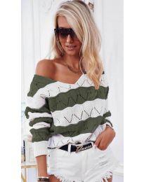 Дамска блуза в маслено зелено - код 8689
