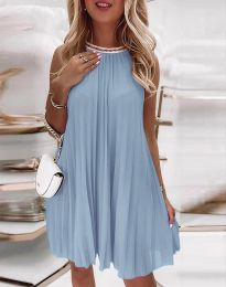Дамска плисирана рокля в бледосиньо - код 0889