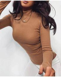 Дамска блуза с поло яка в кафяво - код 4207