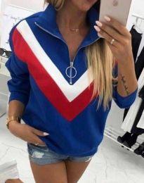 Ефектна дамска блуза в синьо - код 7890