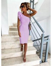 Елегантна рокля в светло лилаво с голо рамо - код 710
