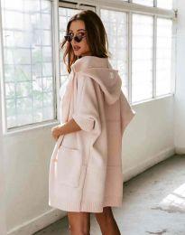Дамска плетена жилетка с качулка и къс ръкав в розово - код 6055