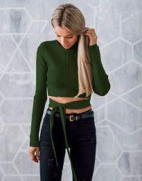 Ефектна дамска блуза в тъмнозелено с гол гръб - код 1248