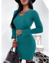 Дамска рокля в тюркоаз - код 5666