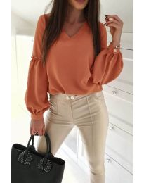 Изчистена дамска риза в оранжево - код 685