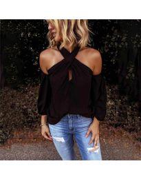 Стилна блуза с ефектни ръкави в черно - код 6568