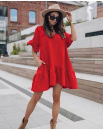 Свободна дамска рокля в червено - код 748